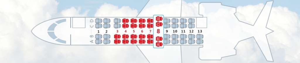 Seat choice on board in the front of the aircraft